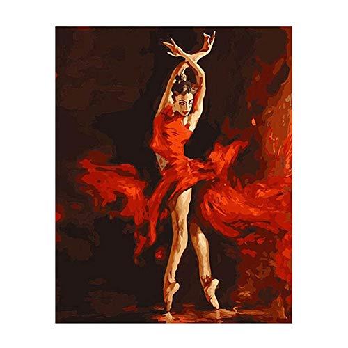 Kit de pintura a óleo por números DIY super1798 para adultos iniciantes, dançando balé menina vista pintura em tela arte de parede decoração E290
