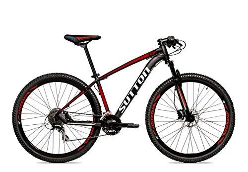 Bicicleta Aro 29 Sutton New Shimano 27v Freio Hidráulico Suspensão Com Trava (Preto-Vermelho-Branco, 19)