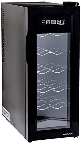 Adega Climatizada 127V com 65W Capacidade para 12 garrafas Display Digital e Luz de LED Interna Preto Multilaser - HO040