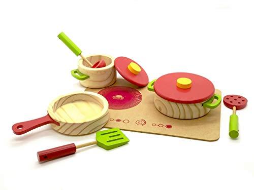 Brincando de Comidinhas - Kit Panelas com Utensílios e Cooktop Vermelho - Madeira - 441 - New Art