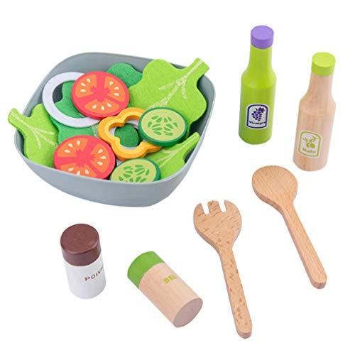 NUOBESTY Conjunto de Brinquedos de Fingir de Cozinha de Madeira Corte de Comida Jogo de Brinquedos Com Pratos Utensílios de Cozinha Brinquedos de Fingir Educativos Meninas Meninos Crianças