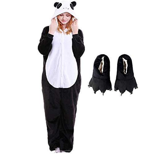 Kit Pijama Panda e Pantufa Pata Preta Fantasia Kigurumi Macacão com Capuz Tamanho: M 1,56-1,66