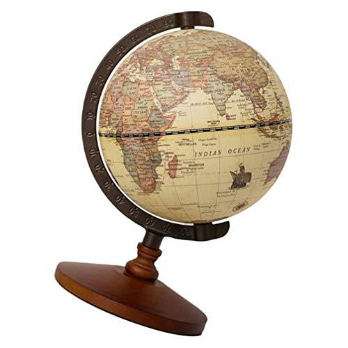 VORCOOL Bola Terrestre Retrô Estilo Europeu Antigo Decorativo Desktop World Collection Globo Mesa Geografia Estátua para Escritório em Casa
