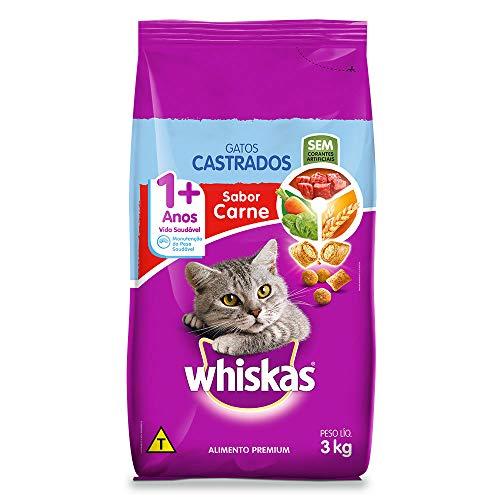 Ração Whiskas para Gatos Adultos Castrados Sabor Carne - 3kg