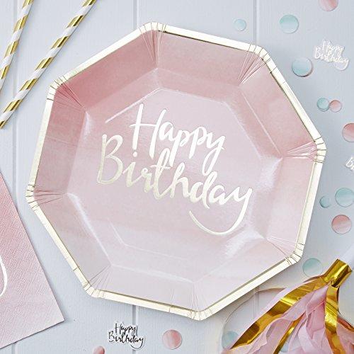 Ginger Ray Pratos de papel para festa de feliz aniversário Ombre rosa da Pick And Mix (pacote com 8), dourados, 25 cm, número do modelo: