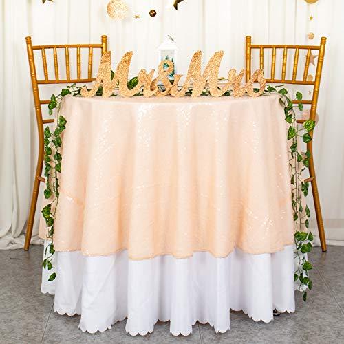 Toalha de mesa ShinyBeauty de lantejoulas redondas para casamento/festa/decoração, Pêssego, 72Inch, 1