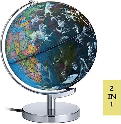 Globo mundial para crianças, 88 constelações Globo de animais, construído em luzes LED para vistas noturnas com tomada, mapa mundial detalhado educacional 2 em 1 do globo terrestre