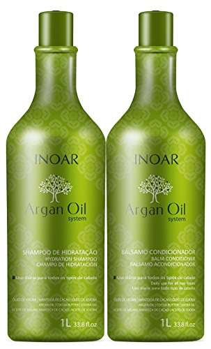 Inoar Kit Shampoo e Condicionador Argan Oil Hidratante 1L, Pack of 2
