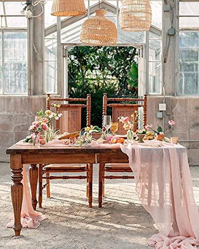 Corredor de mesa transparente 10 pés luz pêssego mesa de casamento sobreposição de corredor de chiffon para decoração de mesas de festa de aniversário de casamento