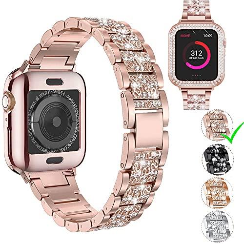 Danwon Compatível com Apple Watch Pulseira 38 mm, 40 mm, 42 mm, 44 mm, pulseira de strass de aço inoxidável, para iWatch SE série 6/5/4/3/2/1 com capa protetora de tela de diamante (40 mm, ouro rosa)