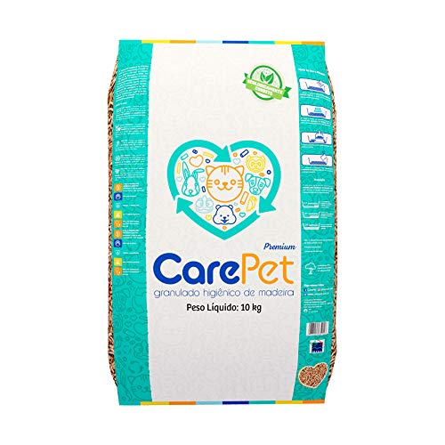Areia Granulada de Madeira Premium CarePet para Gatos - 10kg