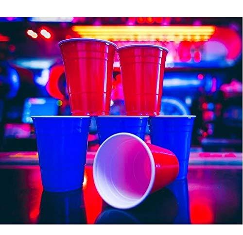 Copo Americano Descartável Beer Pong Red 50un Vermelho Azul