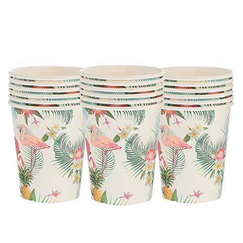 Copos de papel de festa havaiana de 18 unidades Flamingo Copos descartáveis ??impressos para festas