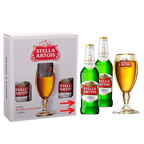 Cerveja Para Presente Kit 02 Garrafas + Cálice Stella Artois Original Envio Com Segurança 24Hrs