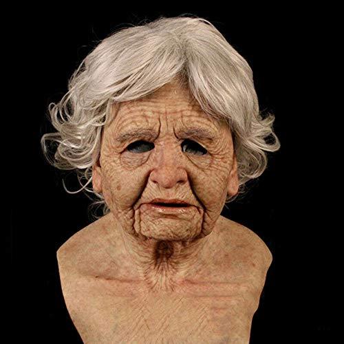 Lixiliw - Mascara facial humana de homem velho, bem realista, de látex, decorativa, para adultos, Halloween, presente de Natal, feriado de Ação de Graças, acessório de cabeça divertido e super macio., C, Various sizes