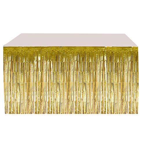 ForHe Saia de mesa para mesas retangulares, toalha de mesa com glitter para festa, casamento, festa de aniversário, decoração de casa, saia de mesa com franjas metálicas, 6 cores opcionais