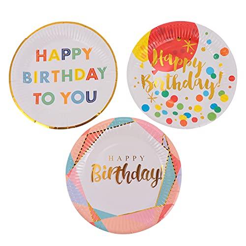 TOYANDONA Pratos de Papel Feliz Aniversário 30 Peças Pratos de Sobremesa Pratos de Servir Pratos Descartáveis para Festa de Aniversário