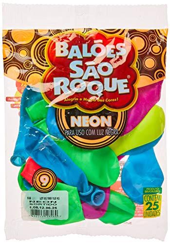 Balão para Decoração Redondo N.09 Neon Cores Sortidas, São Roque, 108129625, Multicor, Pacote com 25 Unidades