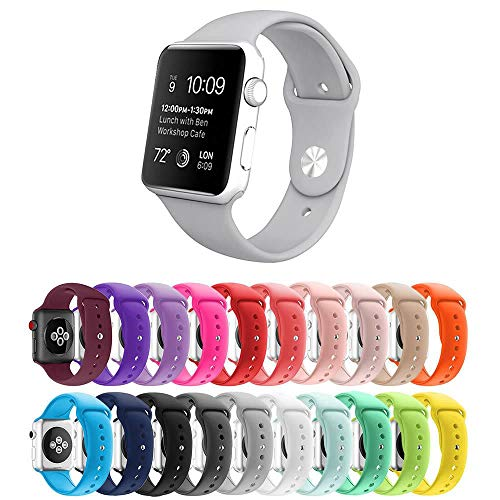 Pulseira Silicone para Apple Watch 44mm e 42mm - Cinza - Tamanho M/L [G] - Marca Ltimports