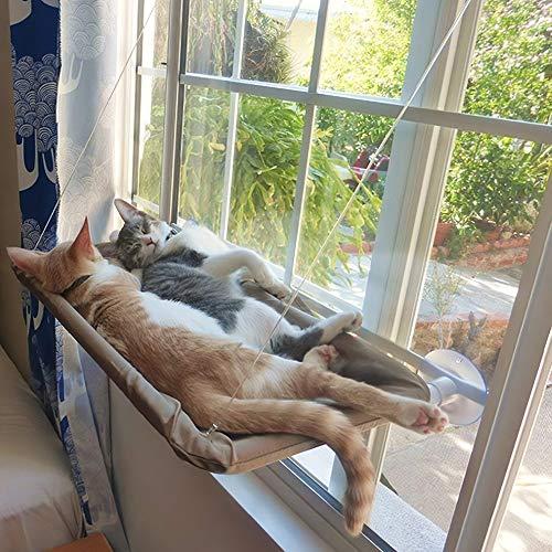 Baugger - Cat Janela Perch Hammock Janela Montada Cama de Gato de Refrigeração Respirável de Lona de Sucção Copos Sunbath Hammock Cama para Cães de Gatos