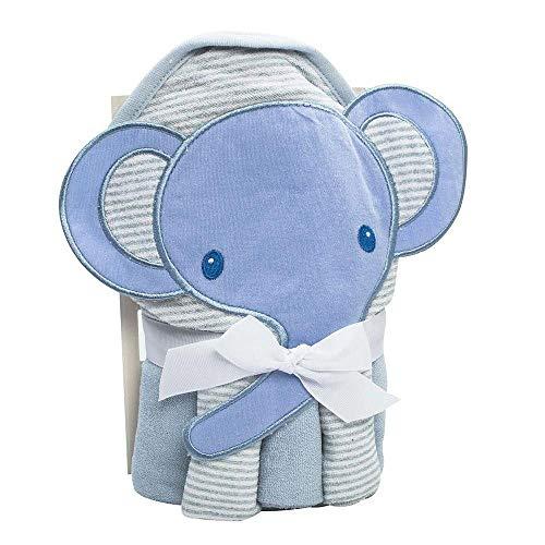 Kit Toalha Bordada com Capuz e Toalha de Boca Elefante Azul Camesa
