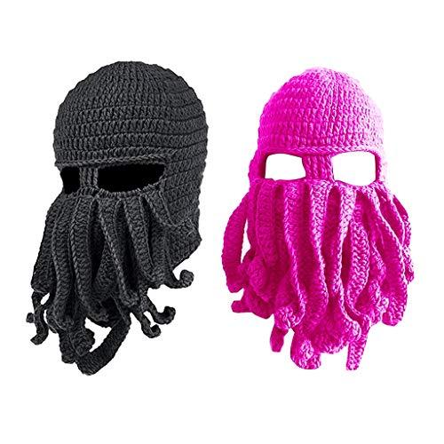 oshhni 2 Peças Engraçadas Tentáculo Polvo Gorro de Malha Chapéu de Barba Fisher Boné Máscara de Esqui para Vento