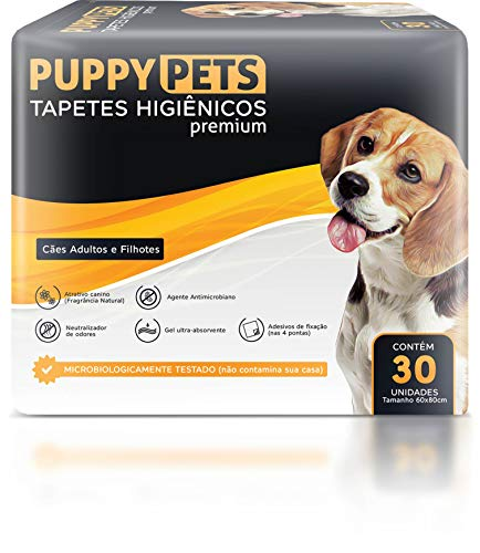 Tapetes Higiênicos Premium PuppyPets Branco 60x80 30 UNIDADES