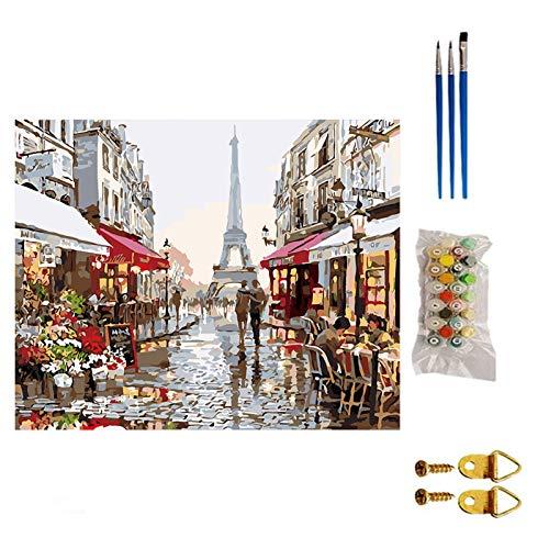 Kiaya Kit de pintura a óleo Kit de Pintura DIY por Números Paris Street Landscape Canvas com 3 pincéis Tintas acrílicas para adultos e crianças