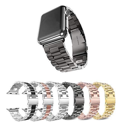 Pulseira Metal 3 Elos para Apple Watch 44mm e 42mm - Marca Ltimports (Preto)