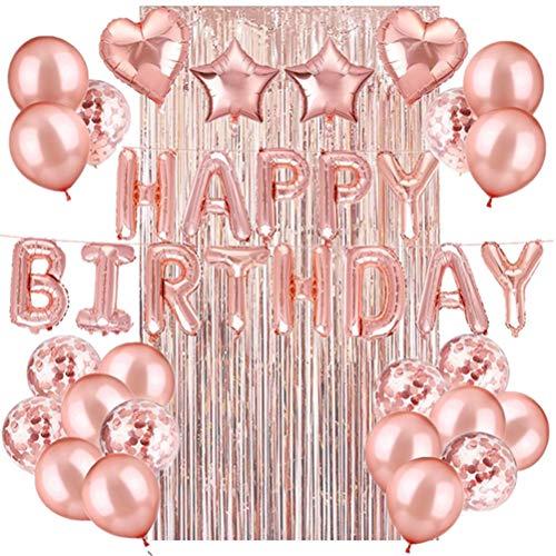PTS 39 balões de feliz aniversário, cortina criativa com borla, decoração para pendurar, balões de lantejoulas, decoração de festa de aniversário (ouro rosa)