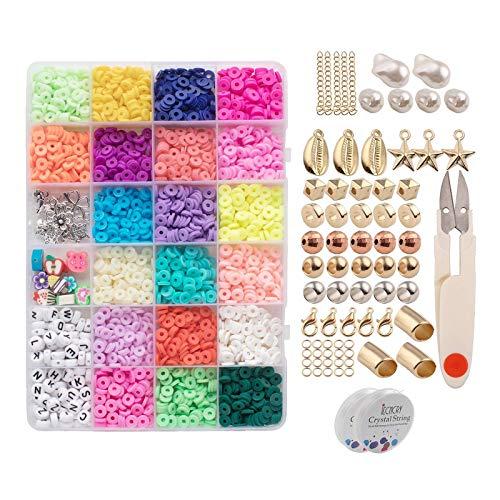 yotijar 3200 Unidades/pacote 6mm Contas Polymer Clay Craft Beads Flat Round Spacer Contas para Jóias Pulseira Artesanato Fazer DIY Ferramentas