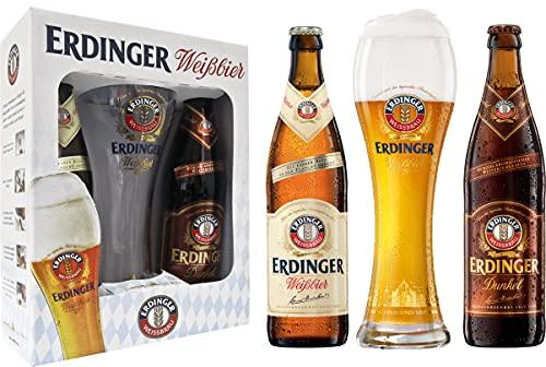 Kit Cerveja Erdinger - 1 gfa clara 500 ml + 1 gfa escura 500 ml + 1 copo 500 ml Erdinger 500Ml