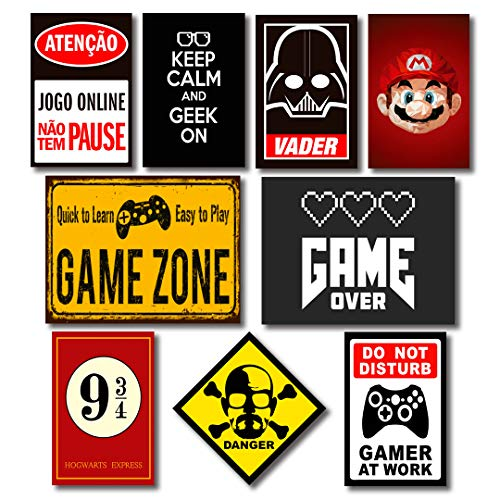 Kit Placas Decorativas Geek Nerd Frases Mdf - 9 Placas