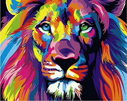 (Colorful Lion) - Komking Paintworks Paint by Number Kit for Adults Kids Beginner, DIY Canvas Painting by Numbers for Home Decoration, Colourful Lion 41cm x 50cm