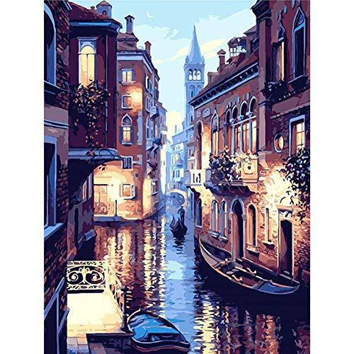 DSstyles - Pintura a óleo faça você mesmo, paisagem de Veneza sem moldura, conjunto de pintura a óleo com marca numérica para decoração de casa escritório, paisagem de Veneza sem moldura 40 x 50 cm