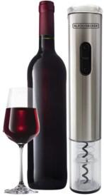 Abridor de vinho ao lado de uma garrafa e uma taça.