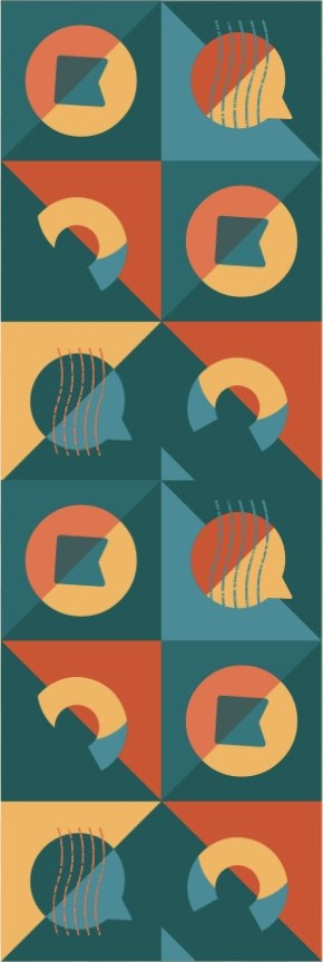 Banner vertical com variações do logotipo.