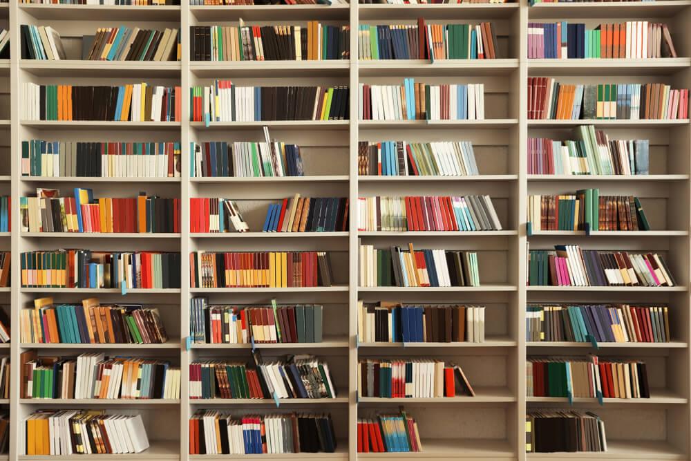 Estante Repleta De Livros Com Capas Bonitas.
