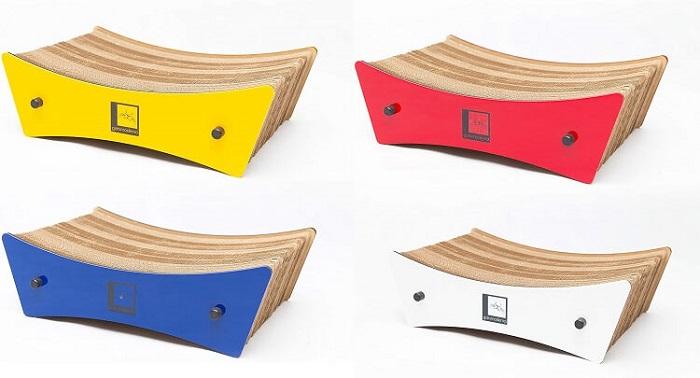 cores disponíveis do arranhador de papelão para gatos wave gatomoderno.