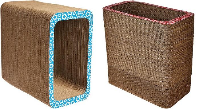 arranhador de papelão em formato retangular, serve de cama e toca, pet games.
