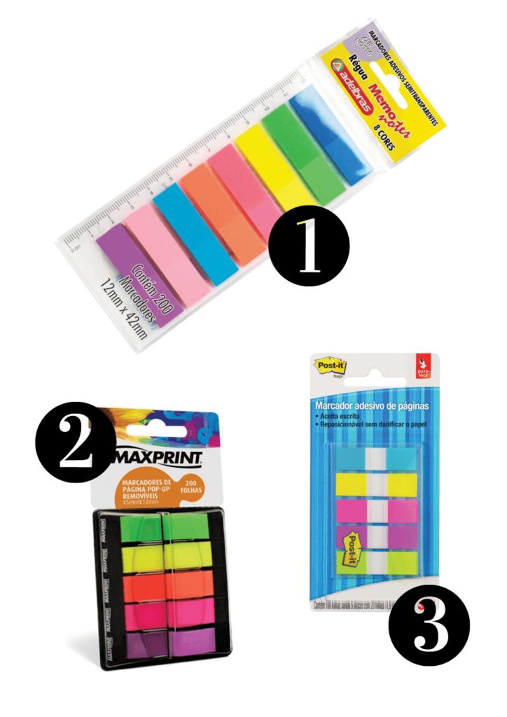 Três opções de flags coloridas para marcas livros, cadernos, anotações.