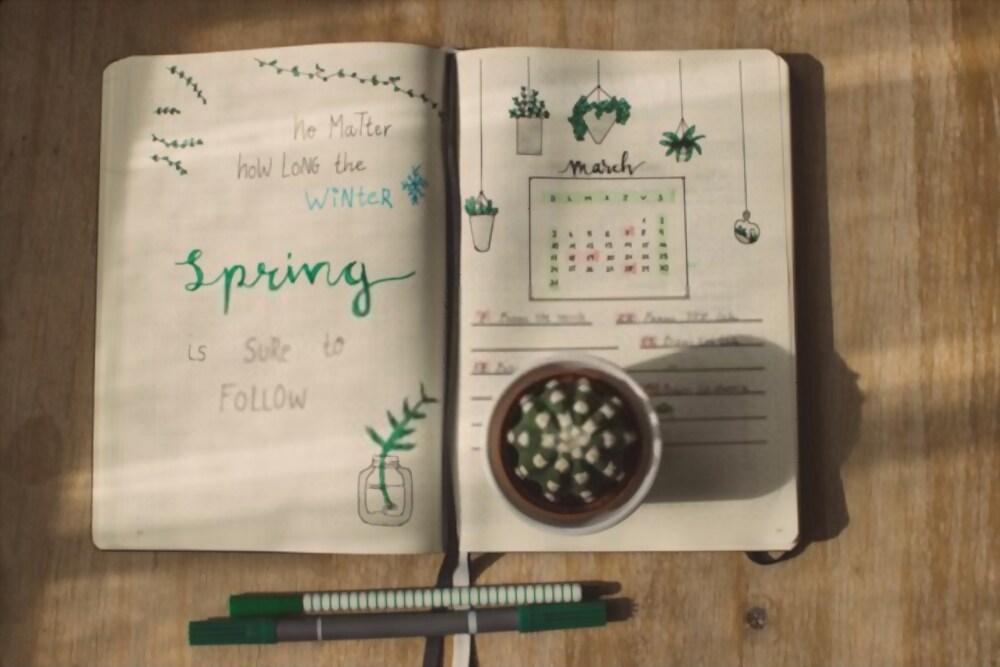 Caderno Para Bullet Jorunal Com Ilustrações E Calendário Desenhados à Mão.