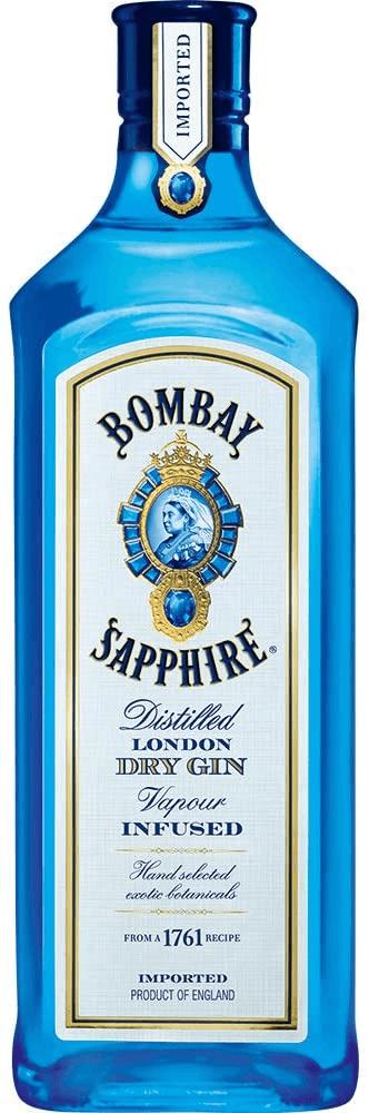 Garrafa de gin da marca Bombay Sapphire.