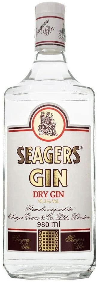 Garrafa de gin da marca Seagers Gin.