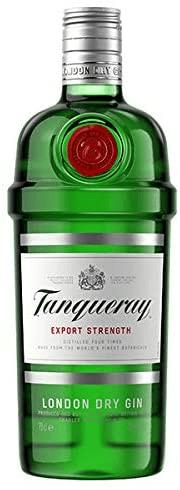 Garrafa de gin Tanqueray.