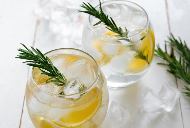 Dois copos contendo gin tônica com limão siciliano, alecrim e gelo.