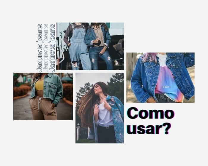 Inspirações tendência anos 90 com jaqueta jeans