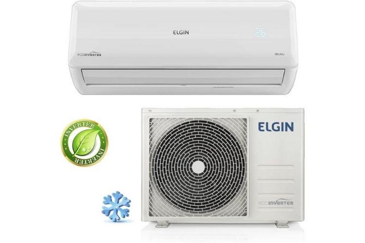 Ar-condicionado da marca Elgin. Apresenta-se a parte interna e externa do aparelho na cor branca.