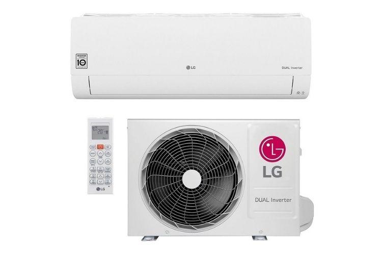 Ar-condicionado da marca LG. Mostra-se o controle, parte interna e externa na cor branca.
