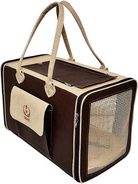 caixa de transporte para gatos no estilo bolsa em couro ecológico são pet